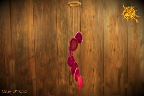 Dzwonki wietrzne AGAT plaster RÓŻOWY - harmonia, szczęście, radość