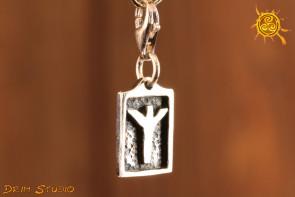 Runa ALGIZ przywieszka charms srebro - ochrona opieka harmonia