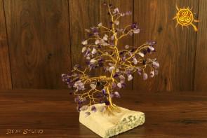 Drzewko szczęścia Ametyst 200 kamieni naturalnych - ochrona, radość, szczęście