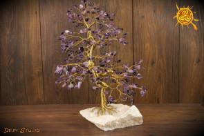 Drzewko szczęścia Ametyst WIELKIE naturalne kamienie - ochrona, radość, szczęście