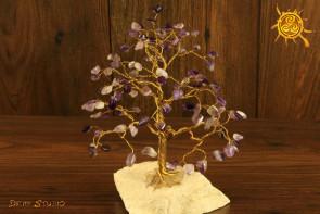 Drzewko szczęścia Ametyst 100 kamieni naturalnych - ochrona, radość, szczęście