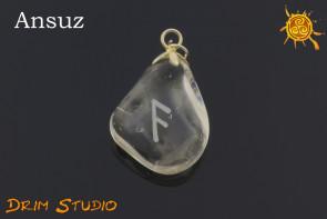 Kryształ Górski wygrawerowana runa ANSUZ WISIOR - inspiracja, wiedza, mądrość
