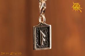 Runa ANSUZ przywieszka charms srebro - inspiracja, wiedza, porozumienie, mądrość
