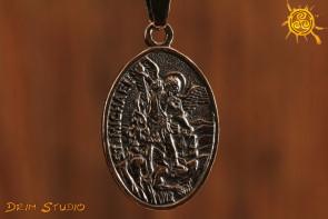 Talizman Archanioł Michał i Anioł Stróż wisior medalion dwustronny - ochrona osobowości, dodanie motywacji