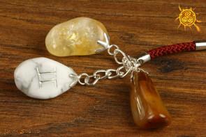 Kamienie Zodiakalne znak zodiaku BLIŹNIĘTA brelok - Cytryn, Tygrysie Oko, Howlit