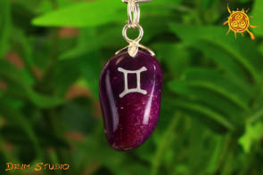 Agat wisiorek znak zodiaku BLIŹNIĘTA - talizman, amulet dla BLIŹNIĄT 23.05 - 21.06