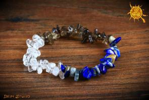 Bransoletka Zodiakalna znak zodiaku STRZELEC - Kwarc Dymny, Kryształ Górski, Lapis Lazuli