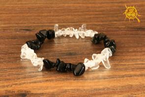 Kryształ Górski z Onyksem bransoletka wąska - ochrona, równowaga, inspiracja