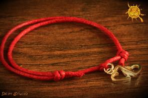 Bransoletka sznurkowa Serca srebro - miłość, szczęście, oddanie