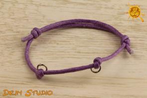 Bransoletka ze sznurka LILOWA z 2 OCZKAMI na amulet, talizman, charms