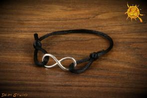 Znak NIESKOŃCZONOŚCI bransoletka czarna kolor znaku srebrny - równowaga, moc ezoteryczna, obfitość