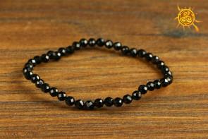 Czarny Turmalin bransoletka KULKI faset 4 mm - silnie chroni, oczyszcza, rozprasza lęk