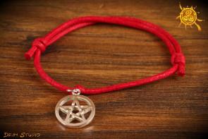 Bransoletka sznurkowa Pentagram srebro - zdrowie, ochrona, dobra energia