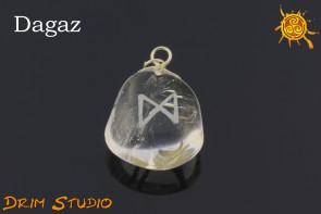 Kryształ Górski wygrawerowana runa Dagaz WISIOR - zdrowie, przebudzenie, cel