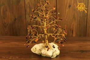 Drzewko szczęścia Tygrysie Oko 200 kamieni naturalnych - moc sukces, pewność siebie