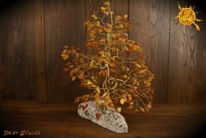 Drzewko szczęścia Bursztyn WIELKIE naturalne kamienie - mądrość, romantyczna miłość, poprawa nastroju