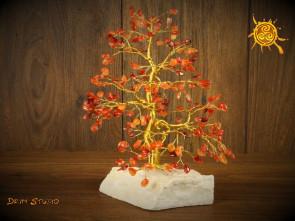 Drzewko szczęścia Karneol 200 kamieni naturalnych - sukces, powodzenie, zakotwiczenie