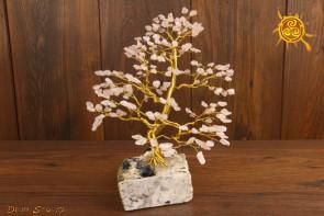 Drzewko szczęścia Kwarc Różowy 200 kamieni naturalnych - miłość, optymizm, przyjaźń