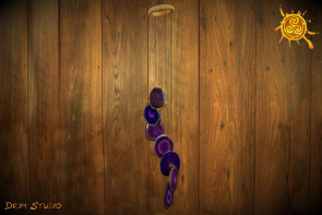 Dzwonki wietrzne AGAT plaster FIOLETOWY - harmonia, szczęście, radość
