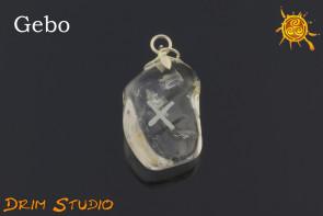 Kryształ Górski wygrawerowana runa Gebo WISIOR - miłość, partnerstwo, tolerancja