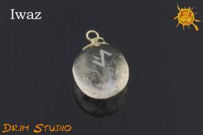 Kryształ Górski wygrawerowana runa Iwaz WISIOR -  wytrwałość, ochrona, sukces