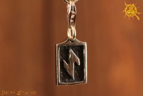 Runa IWAZ przywieszka charms srebro - wytrwałość, transformacja, ochrona