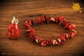 Jaspis Czerwony ZESTAW Bransoletka i wisiorek - siły witalne, ochrona