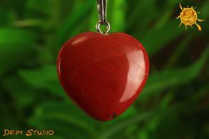 Jaspis Czerwony wisior serduszko - złe oko, wytrwałość, cierpliwość, spokój ducha, bezpieczeństwo