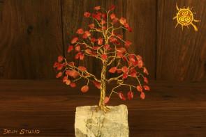 Drzewko szczęścia Karneol 100 kamieni naturalnych - sukces, powodzenie, zakotwiczenie
