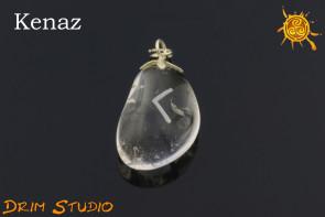 Kryształ Górski wygrawerowana runa Kenaz WISIOR - inspiracja, powodzenie, namiętność