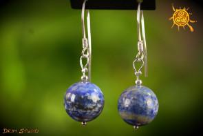 Lapis Lazuli kolczyki kulka 14mm SREBRO - sukces w pracy, wzmocnienie więzi, ochrona