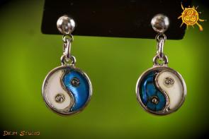 Yin Yang kolczyki Abalon Muszla  – piękno życia, harmonia, ochrona