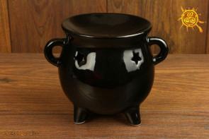 Kominek ceramiczny kociołek czarny - na olejki zapachowe i eteryczne