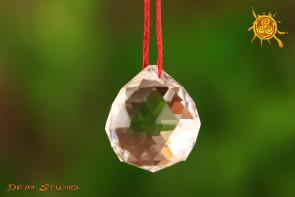 Kryształowa PRZEZROCZYSTA kulka MINI do zawieszenia - kierowanie, pobudzanie energii