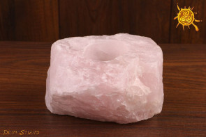 Kwarc Różowy ŚWIECZNIK na tealight OKAZ do postawienia - neutralizuje kłopoty, przyciąga miłość