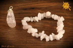 Kwarc Różowy ZESTAW bransoletka i wisiorek - miłość, przyjaźń, życzliwość, optymizm