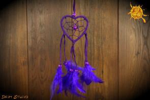 Łapacz snów SERCE fioletowe - ochrona, zdrowie, spokój