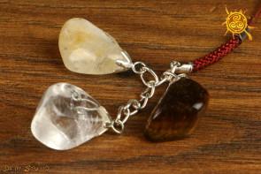 Kamienie Zodiakalne znak zodiaku LEW brelok - Kryształ Górski, Tygrysie Oko, Cytryn