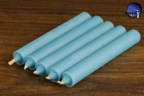 Błękitna świeca KOMPLET 5 świec 9x1,2cm - dobra komunikacja, pozbycie się nałogów, wierność, dobry sen
