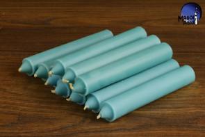 Błękitna świeca KOMPLET 10 świec 10x1,8cm - dobra komunikacja, pozbycie się nałogów, wierność, dobry sen