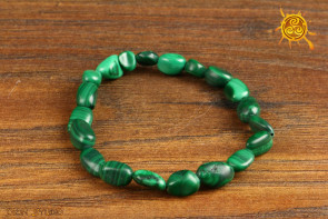 Malachit bransoletka kamienie nieregularne - czakra serca, ochrona przed magią, uspokojenie emocji