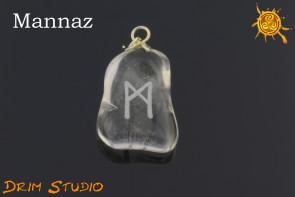 Kryształ Górski wygrawerowana runa Mannaz WISIOR - optymizm, motywacja, harmonia