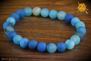 Agat niebieski MATOWA bransoletka KULKI 8mm - przynosi miłość, strzeże przed klątwami, wspiera bogactwo