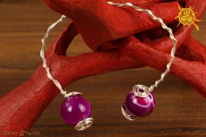 Bransoletka Agat Różowy miedź posrebrzana biżuteria autorska