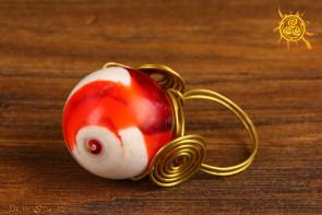 Muszla Miłość i Fortuna pierścionek mosiądz rozmiar 16 - chroni przed złym okiem ludzi i urokami