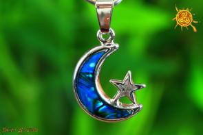 Księżyc z Gwiazdką wisiorek Abalon Muszla  – piękno życia, harmonia, ochrona