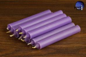 Fioletowa świeca KOMPLET 10 świec 9x1,2 - zdejmowanie uroku, rozwój duchowy, uspokojenie emocji