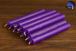 Purpurowa świeca KOMPLET 10 świec 9x1,2 - wzmacnia aurę i działanie egzorcyzmów, oczyszcza, chroni
