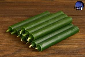 Zielona świeca KOMPLET 10 świec 9x1,2 - uzdrowienie, spokój, pieniądze, płodność