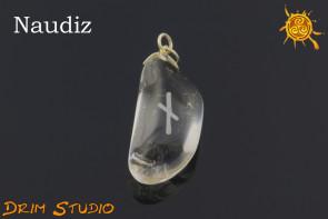 Kryształ Górski wygrawerowana runa Naudiz WISIOR - ochrona, pomysłowość, regeneracja